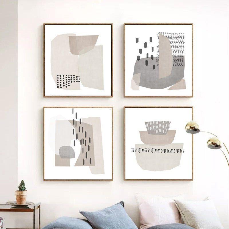 Scandinavian Art Set Of 4 Prints Beige Grey Wall Art Abstract Etsy Grey Wall Art Scandinavian Art Minimalist Art