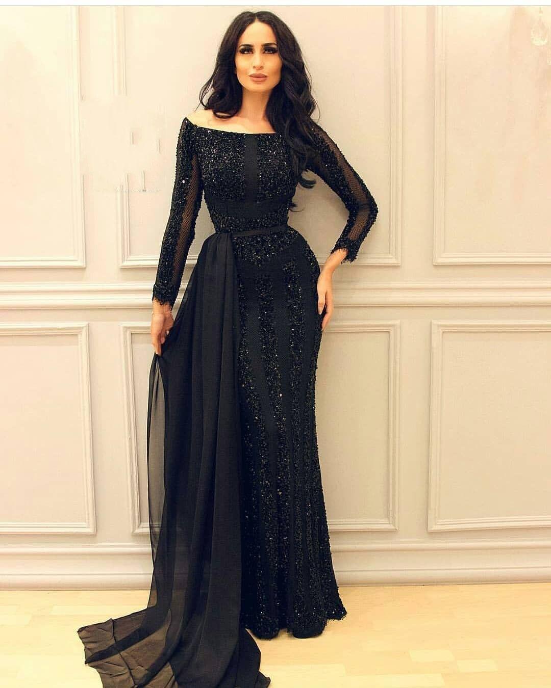 Abendkleider Lang Schwarz  Günstig Abendkleid Mit Ärmel