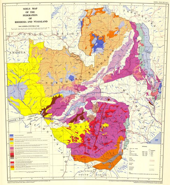 Map Of Africa 1960.Soil Map Of Rhodesia And Nyasaland 1960 Camping Maps Travel