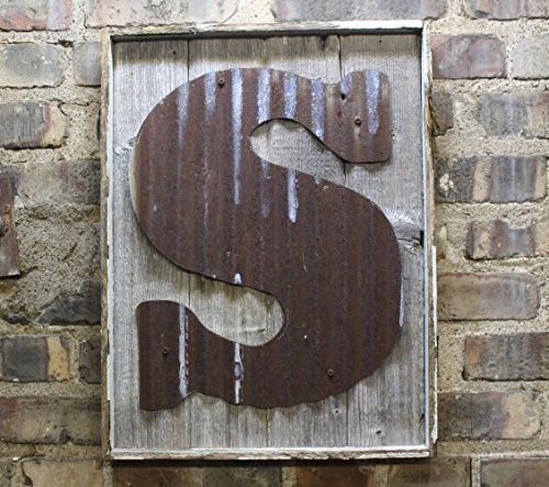 Rustic Tin Letters Rusty Tin Letter On Rustic Wood Frame Monogram Rustic Letter Large