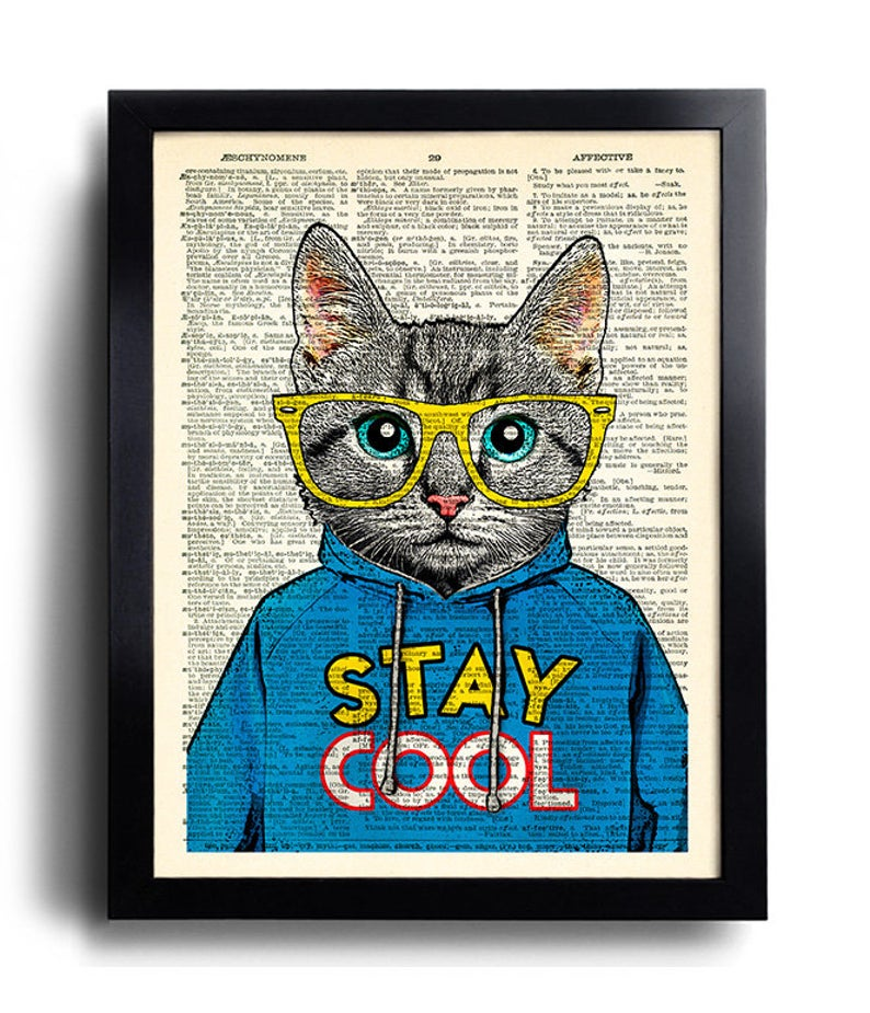 Cool Cat Poster Stay Cool Quote Art Print Cat Glasses Wall Etsy Art Prints Quotes Cat Posters Cat Print