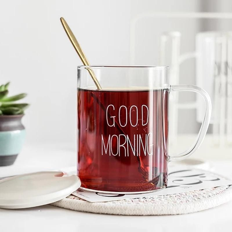 Large Glass Cup 400ml With Good Morning Decal Made Of High