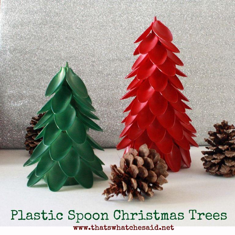 Christmas Tree Made Of Plastic Cups: Plastic Spoon Christmas Trees