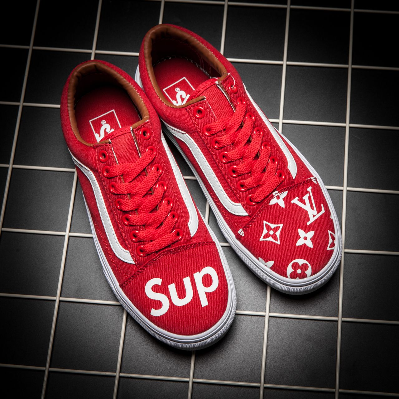 8f1add0045 VANS X SUPREME X LV PRINTED CUSTOM MADE SLIP ON SP03 RED