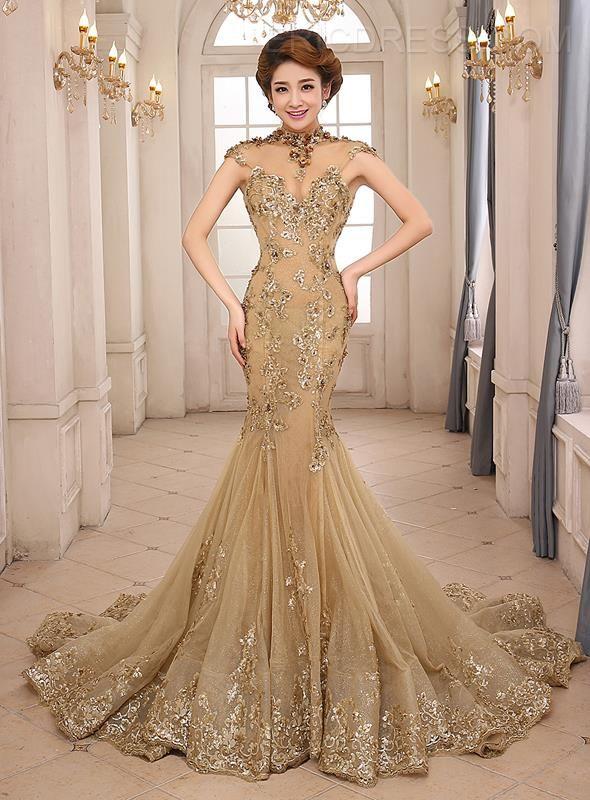 15caf276347 Vintage High Neck Mermaid Appliques Backless Lace-up Evening Dress Vintage Evening  Dresses- ericdress.com 10994239