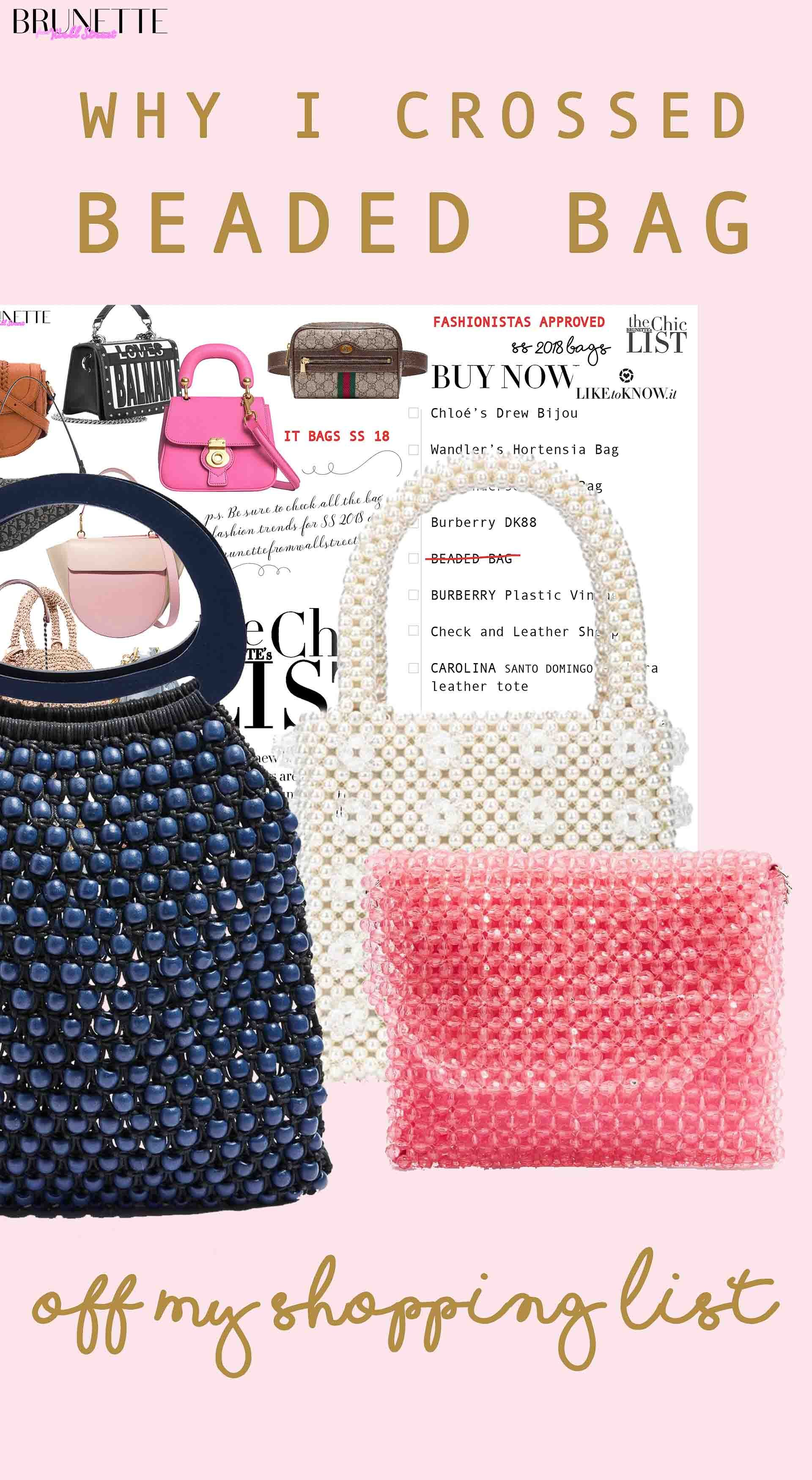 faa1ac7cae35 beaded bags, Toyshop pink beaded bag, transparent beaded bag, blue top  handle beaded bag with text overlay why I crossed beaded bag off my  shopping list