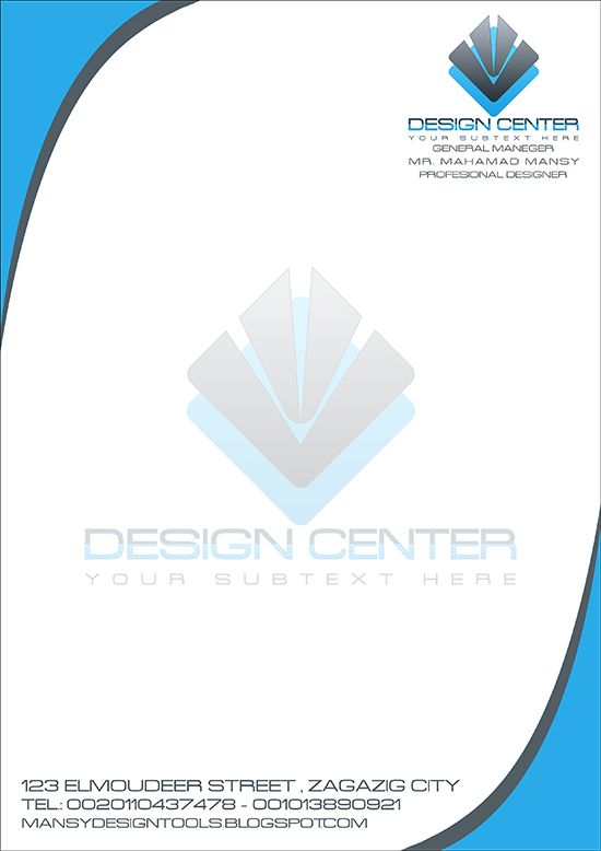 Mansy Design Tools Design Center Letterhead  Free Psd Template