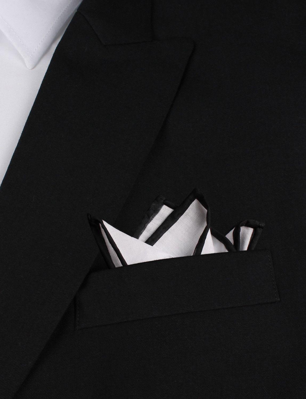 d1433057c3d22 White Cotton Pocket Square with Black Border   Suit Handkerchiefs    Melbourne Australia   4 Point Fold   OTAA.COM