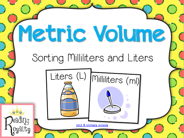 metric volume milliliter and liter sort activities students and math. Black Bedroom Furniture Sets. Home Design Ideas