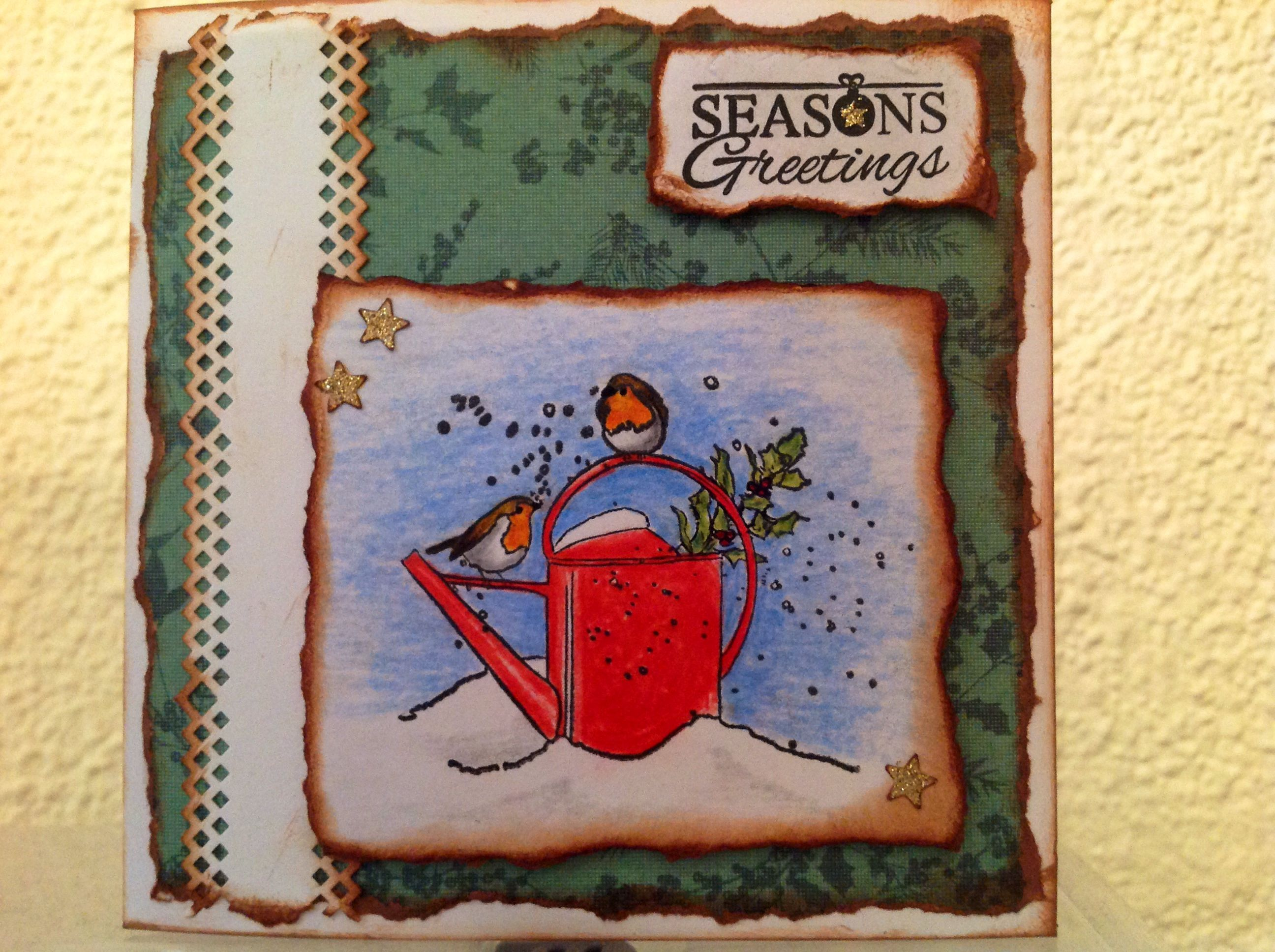 Christmas card with robins and red watering can