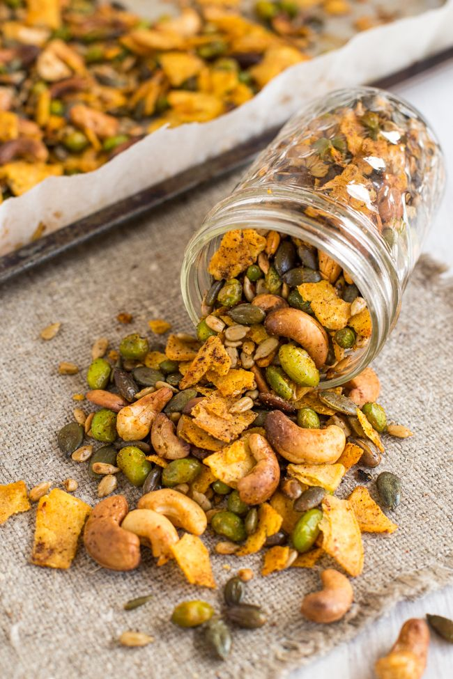Cajun Spiced Savoury Trail Mix With Crispy Nuts And Seeds Roasted Edamame And Crushed Tortilla Chip Healthy Protein Snacks Savory Trail Mix Roasted Edamame