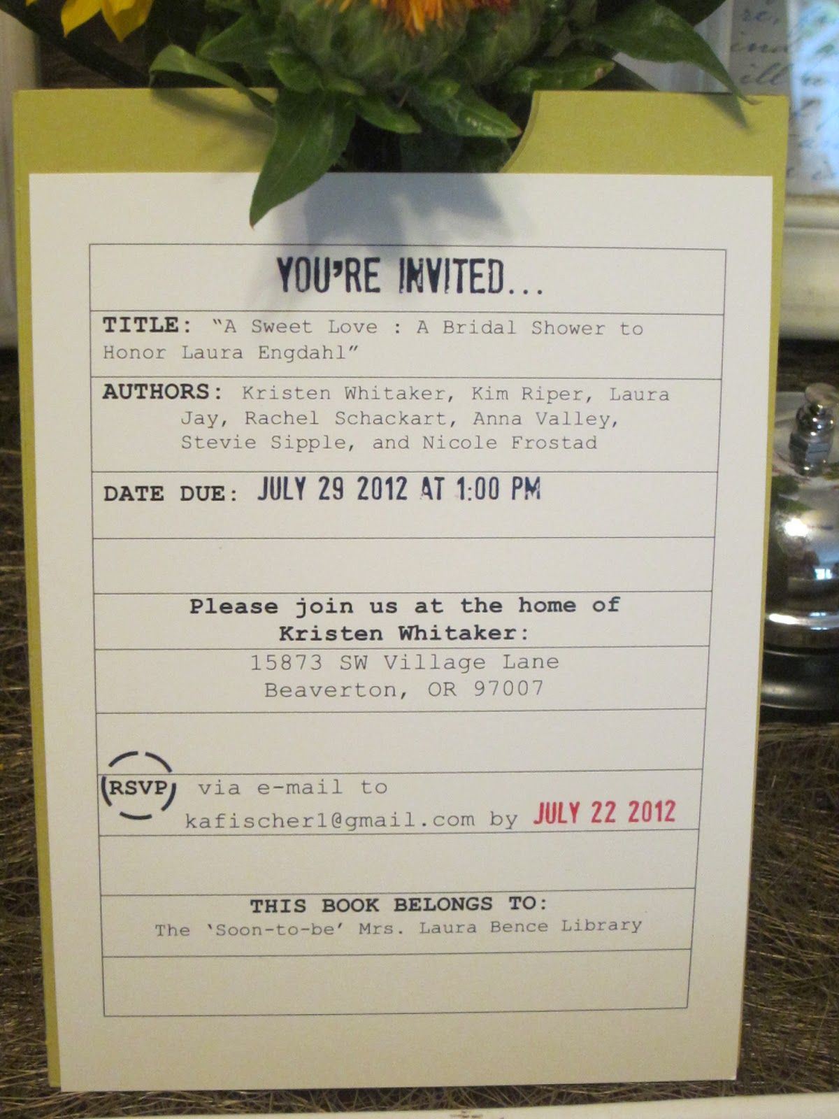 library themed wedding shower invitations - Google Search | Weddings ...