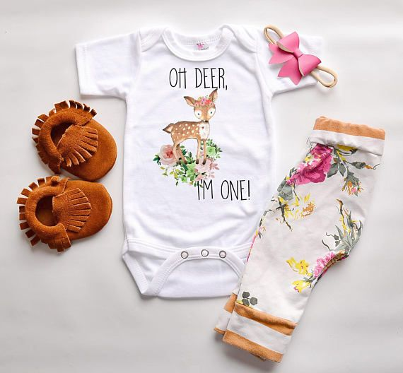 First birthday outfit, deer birthday shirt, woodland girls party , boho bohemian one tee, hippie baby romper, photography cake smash #firstbirthdaygirl