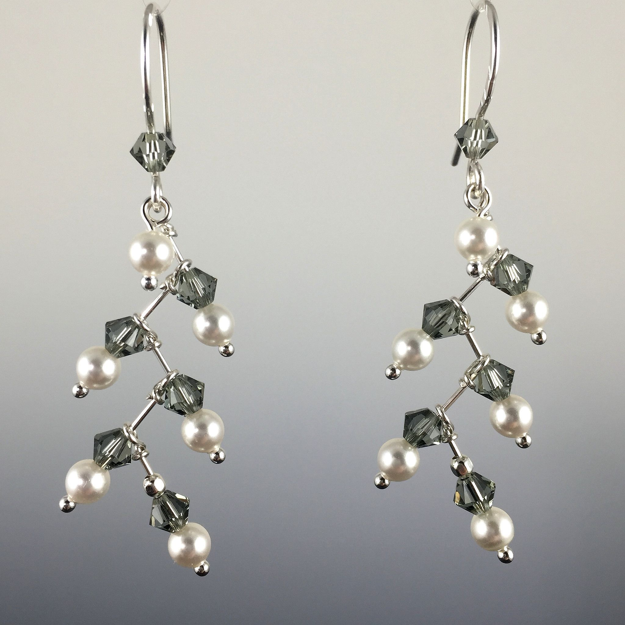 drop crystals aya azrielant pearl freshwater swarovski sterling silver with and earrings beads black itm crystal in pearls