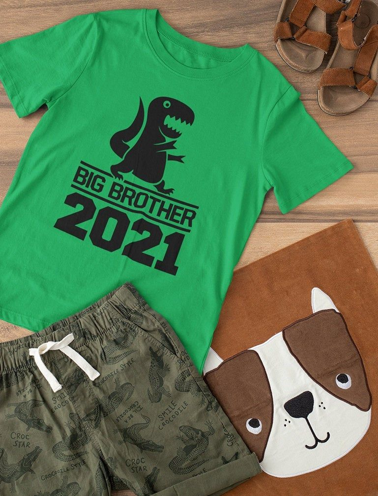 Gift for Big Brother 2021 T-Rex Boys Toddler Kids T-Shirt ...