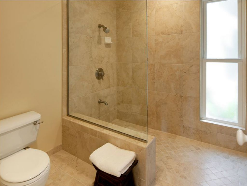 Bathroom the required size of doorless walk in shower for Bathroom designs open showers