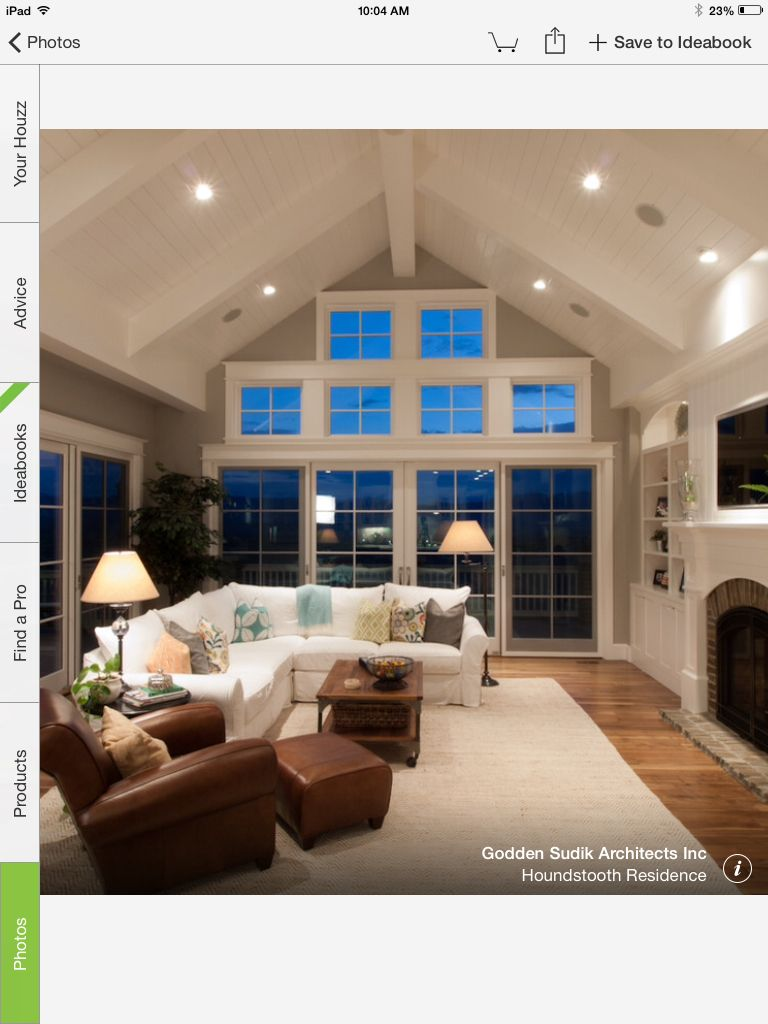 Square Windows In The Peak Vs Triangle Windows Vaulted Ceiling Living Room Types Of Ceilings Traditional Family Rooms