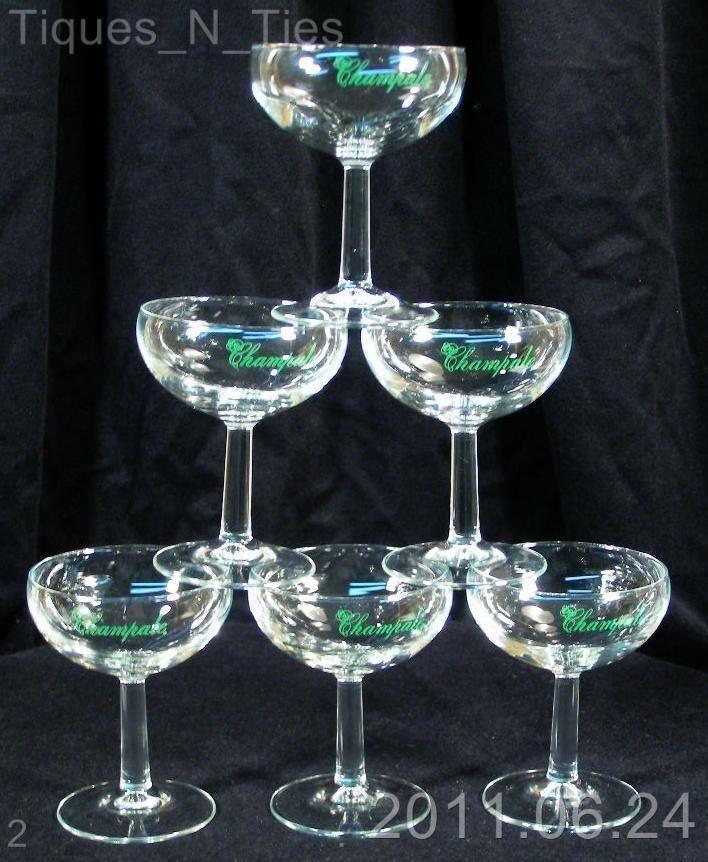 6 Vintage Trenton NJ Champale Advertising Champagne Wine Glasses (12 available)