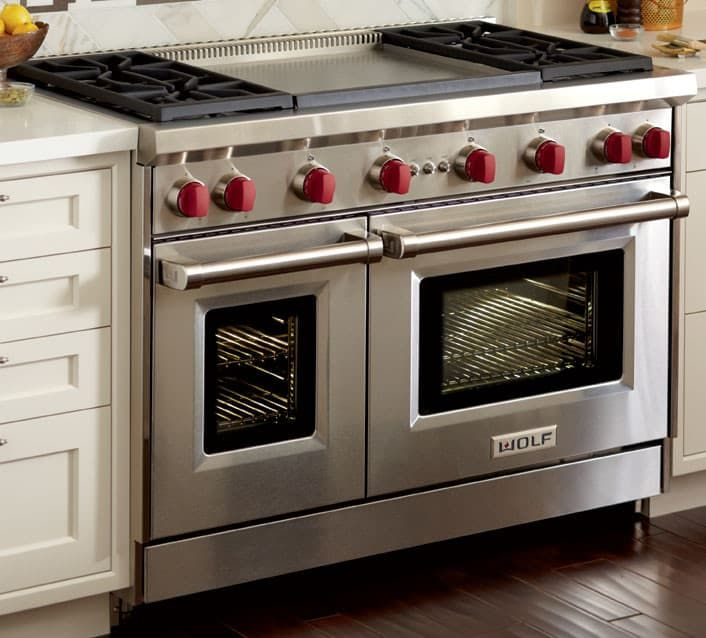 Wolf Gr484dglp 48 Inch Pro Style Gas Range With 4 Dual Stacked Sealed Burners Double Griddle 4 4 Gas Stoves Kitchen Double Oven Kitchen Gas Range Double Oven