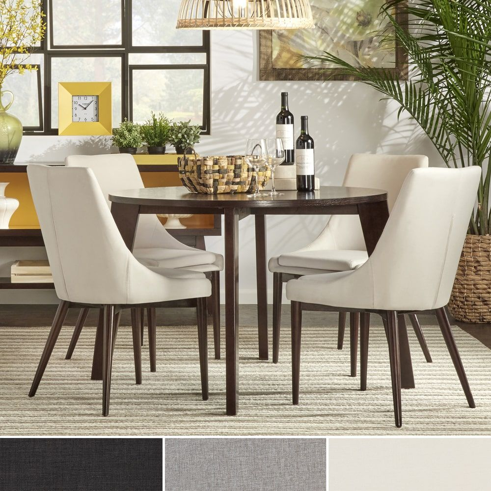 Sasha Brown Angled Leg Round 5-piece Dining Set iNSPIRE Q Modern by iNSPIRE  Q