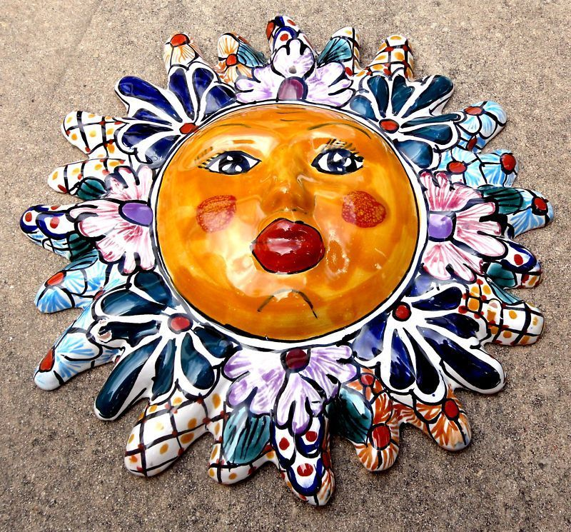 Mexico Mexican Talavera Tile Pottery Wall Art Sun Face