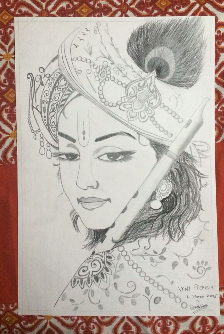 Krishna sketch not original tried to make it as good as possible made by vani pachisia