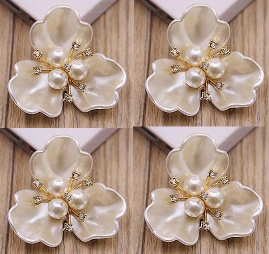 4 Flat Back Pearl Button Pearl Flower Tray by Mydesign63 on Etsy
