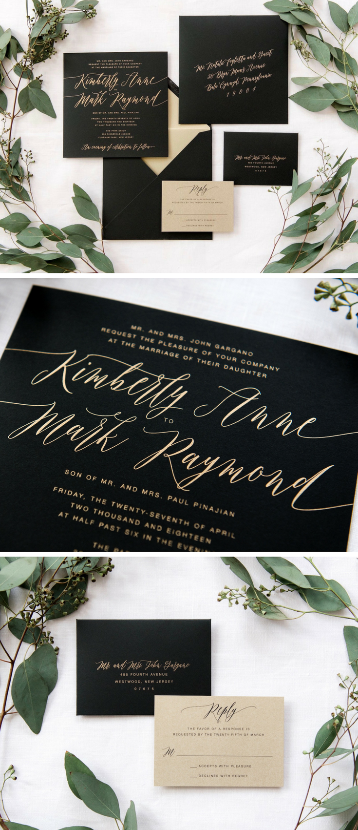 Striking and sweet Jaclyn is a matte black and gold wedding