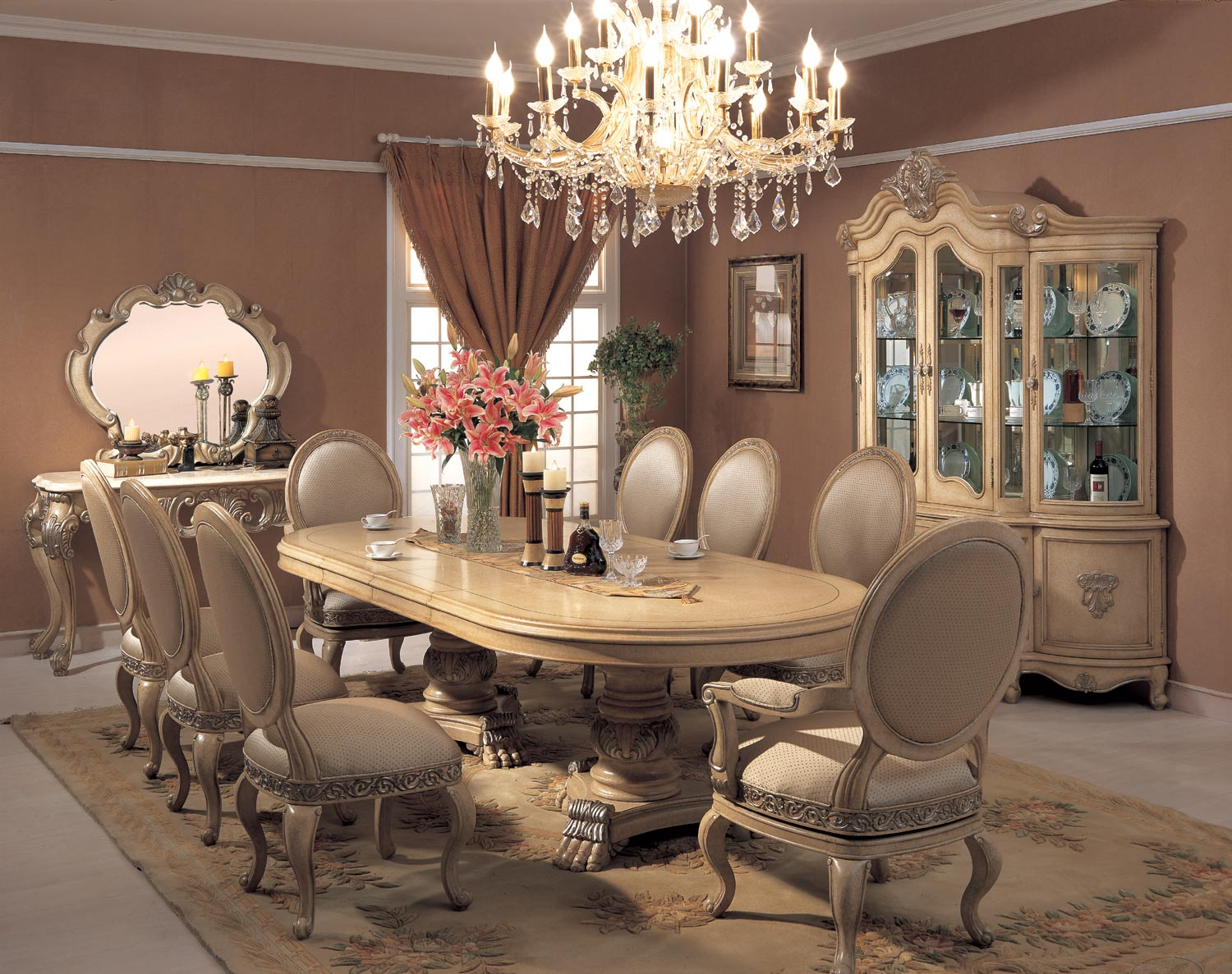 Chardonnay Oval Table Dining Room Set Meja Makan Kursi Makan
