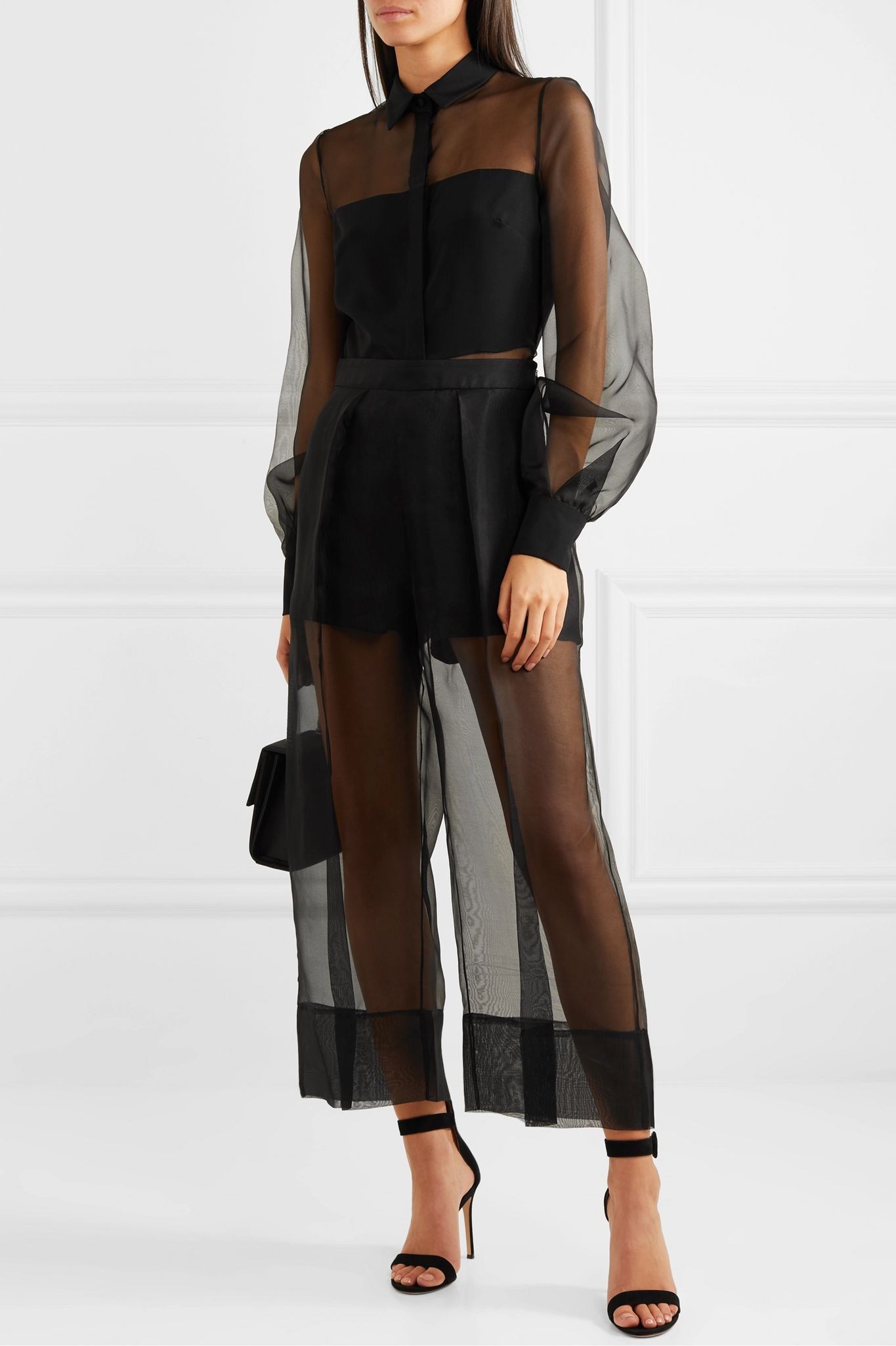 Cropped silk-organza and crepe wide-leg pants