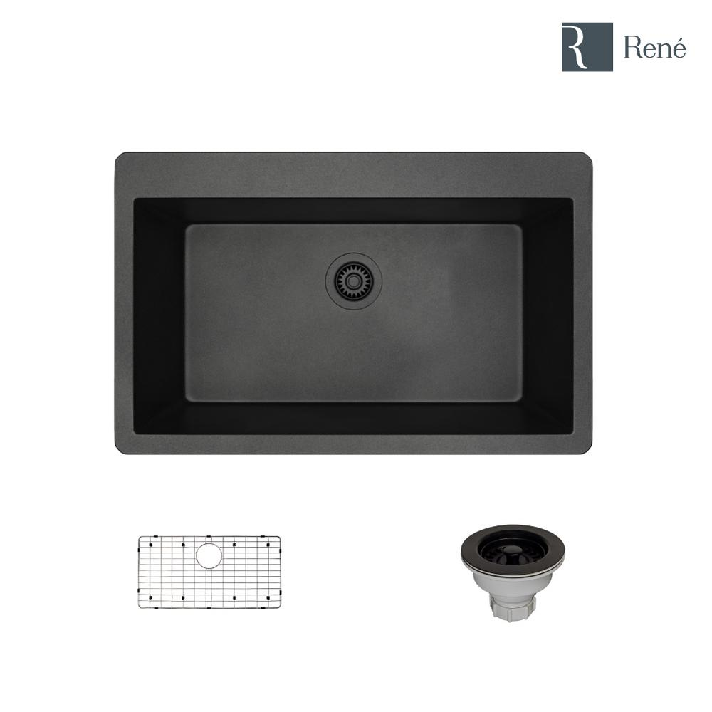 Rene Drop In Composite Granite 33 In Single Basin Kitchen Sink In