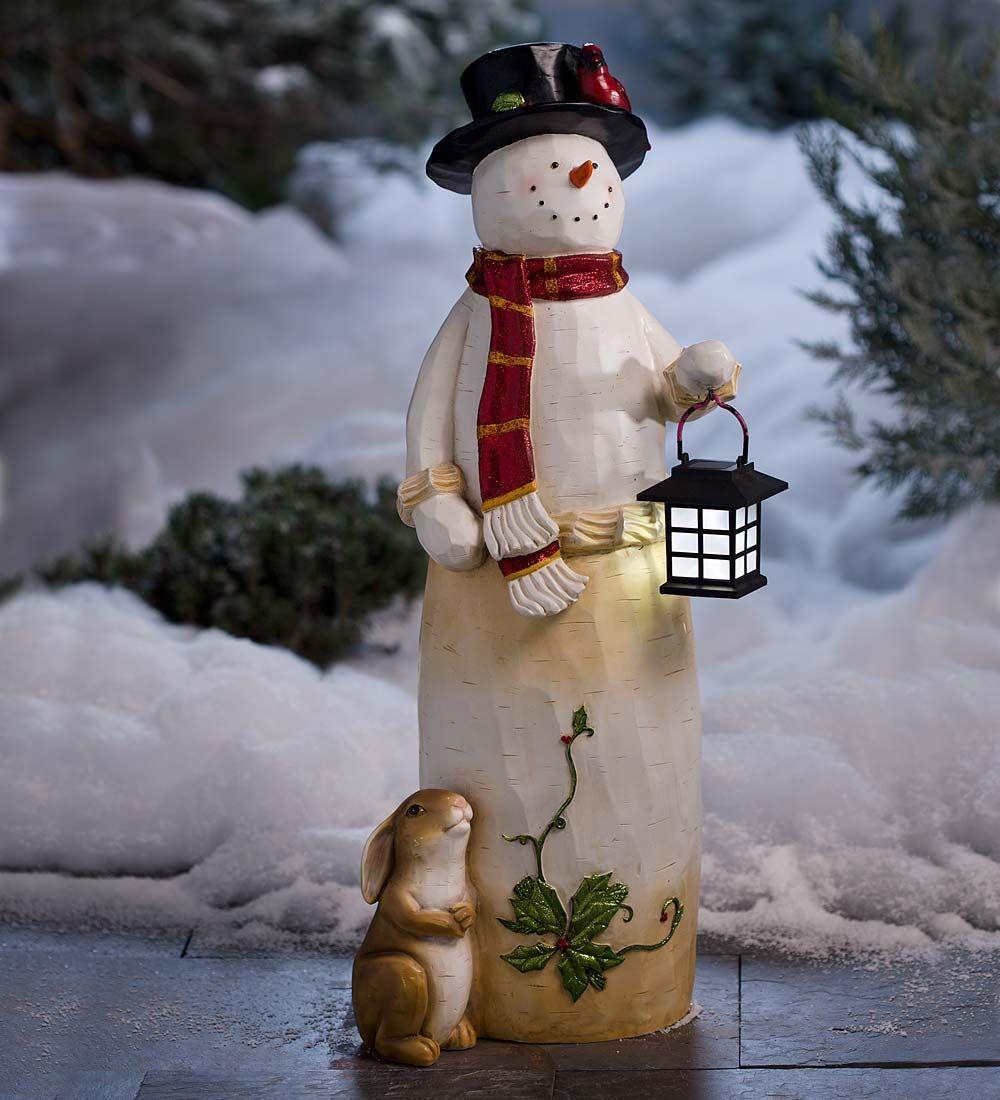 Christmas Statue Decorations: Woodland Solar Snowman Statue