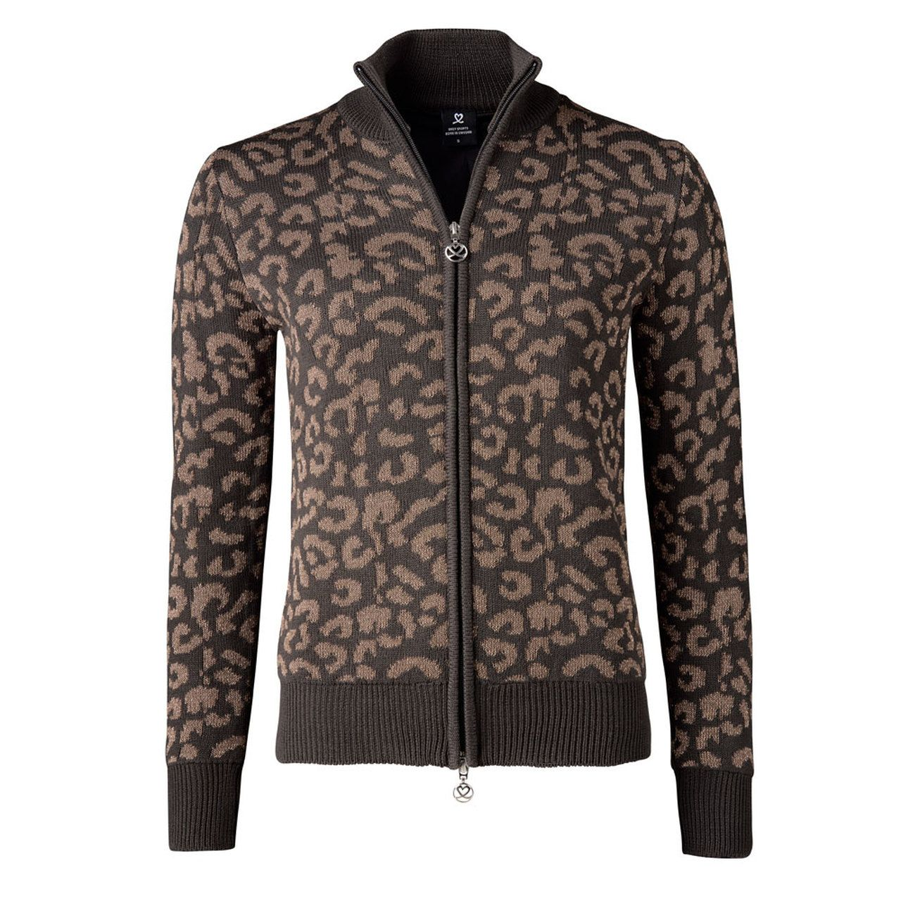 Lined JacketStyle Cardigan with Leopard Print in Coffee