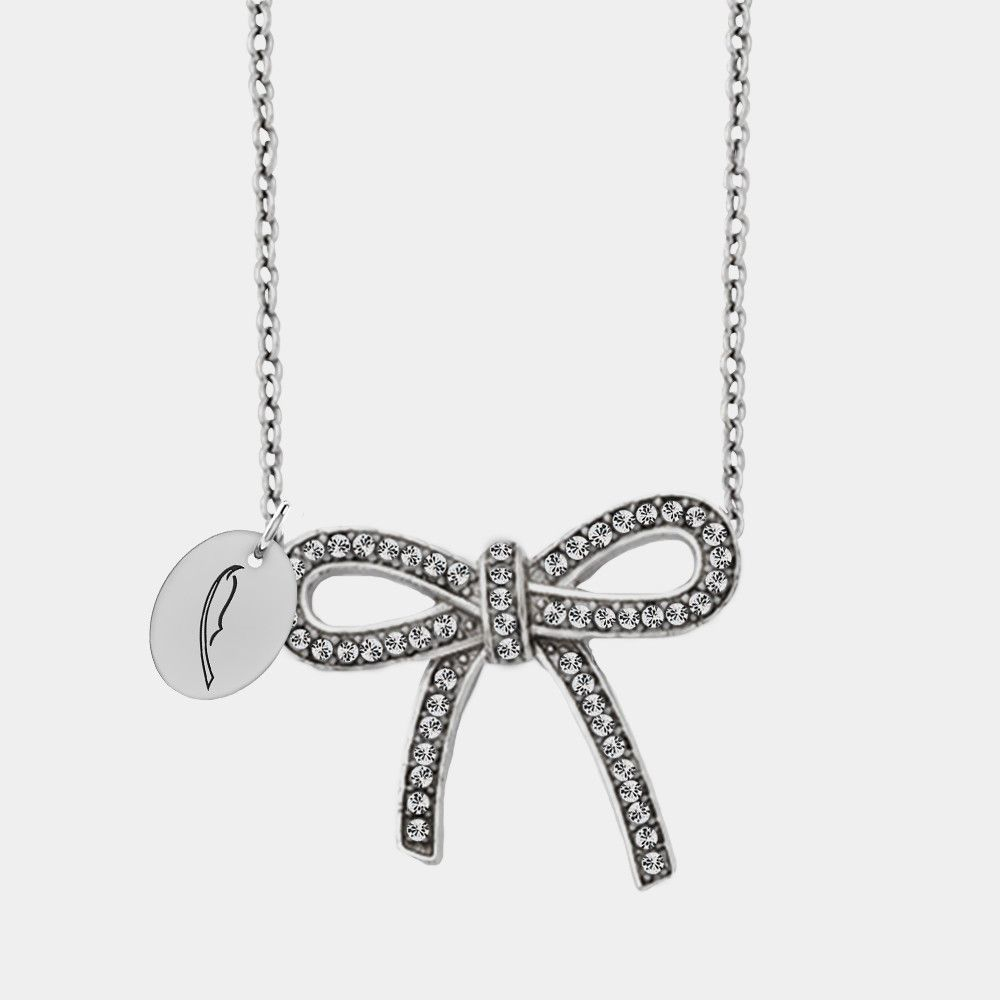 Alpha Xi Delta Symbol Stainless Steel And Crystal Bow Necklace Bow