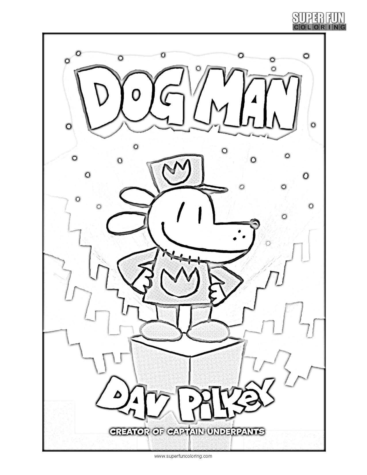 Book Cover Coloring Page Dogman In