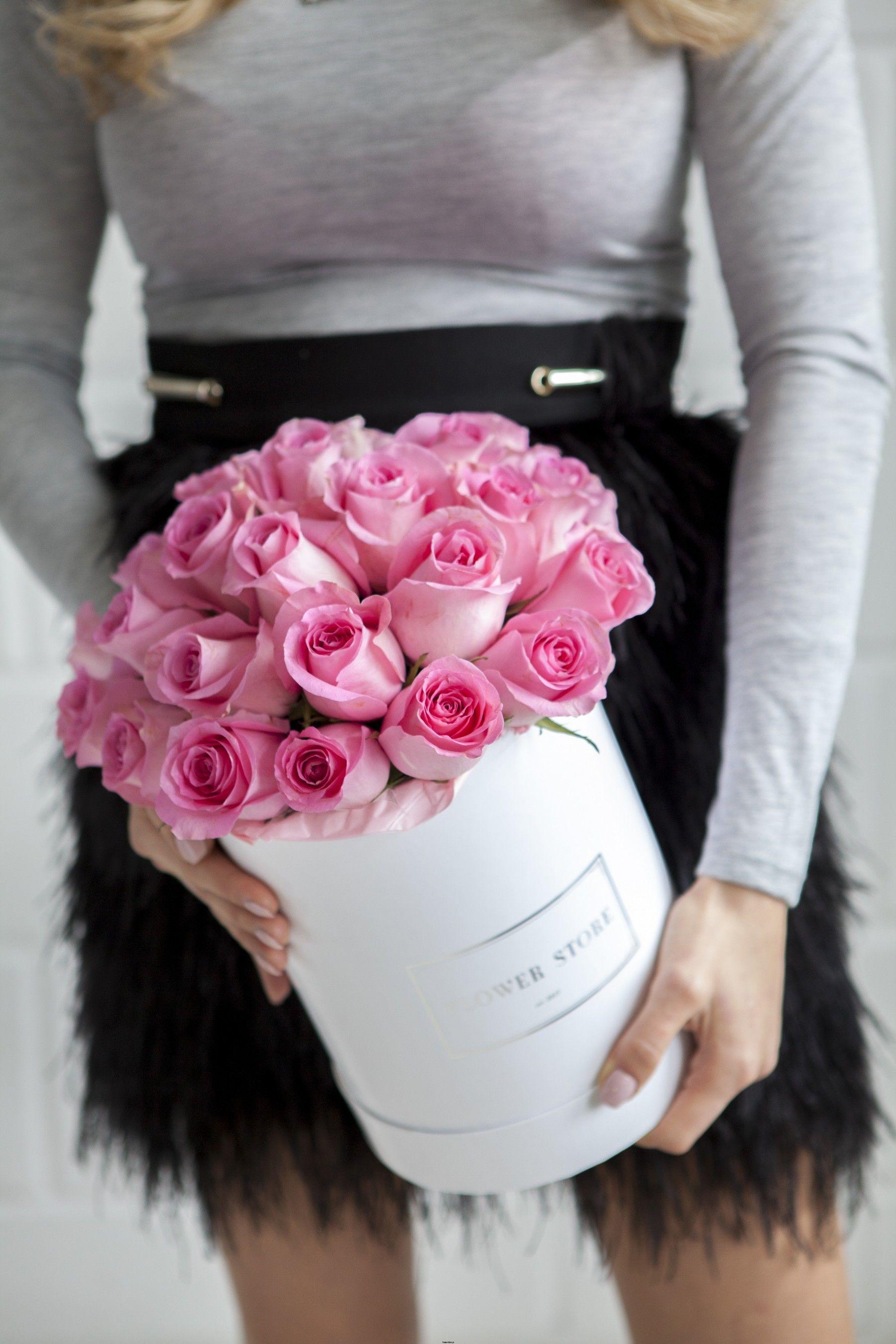 Flower Store Różowe Róże W Dużym Białym Pudełku Kompozycje