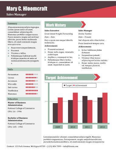Sales Report  Free Resume Template By HloomCom  Branding