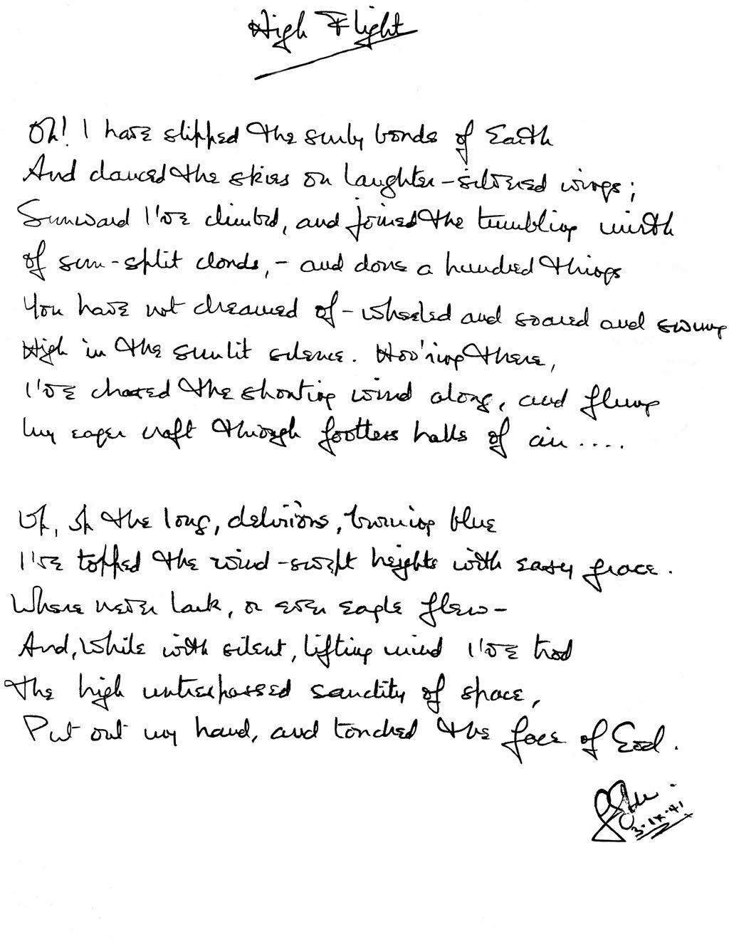 John Gillespie Magee Jrs Original Handwritten Poem
