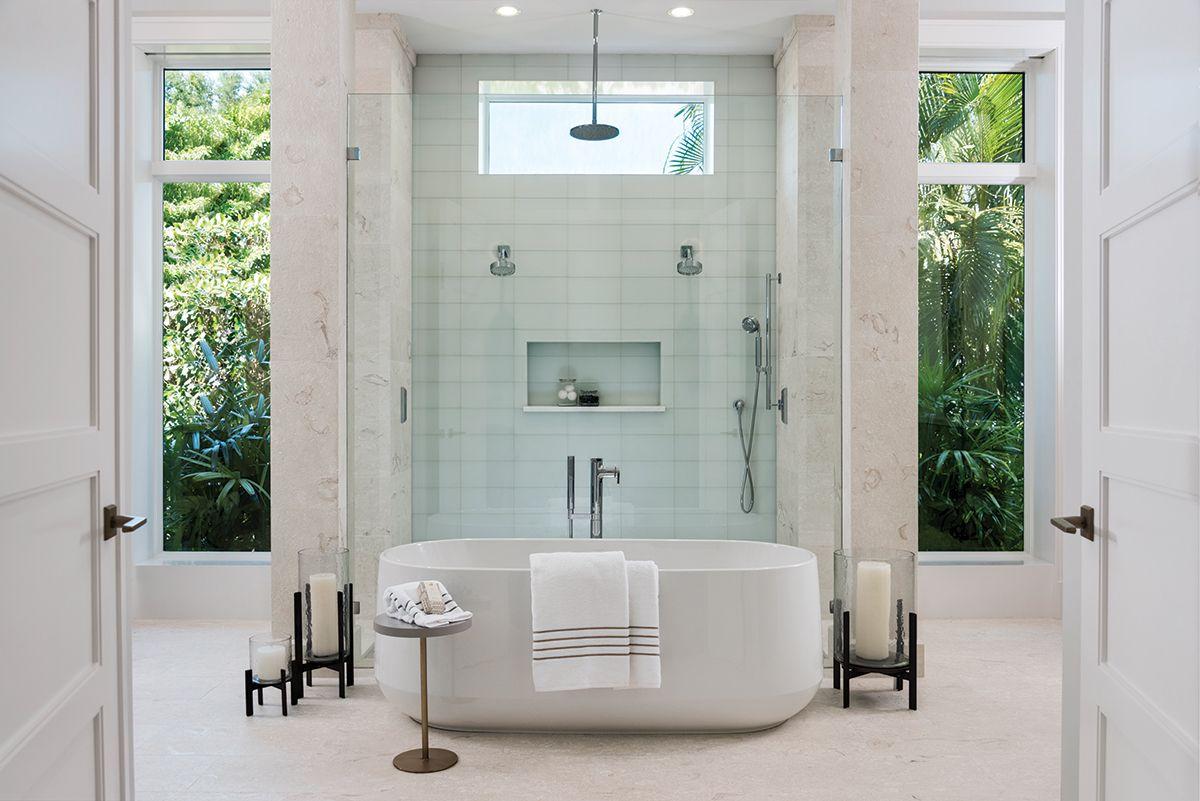 A Freeform Tub From Ferguson Centers The Master Bath Pale Matte