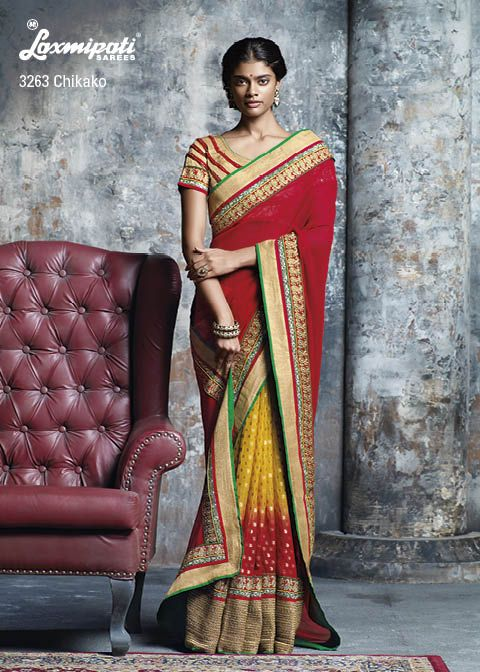 """""""Tradition with Glamour!"""" - this two words are precisely defined the beauty of the saree...which is having amazing mixture of golden jari,silver jari sequence & gota jari border and also glamorous golden brocade blouse piece."""