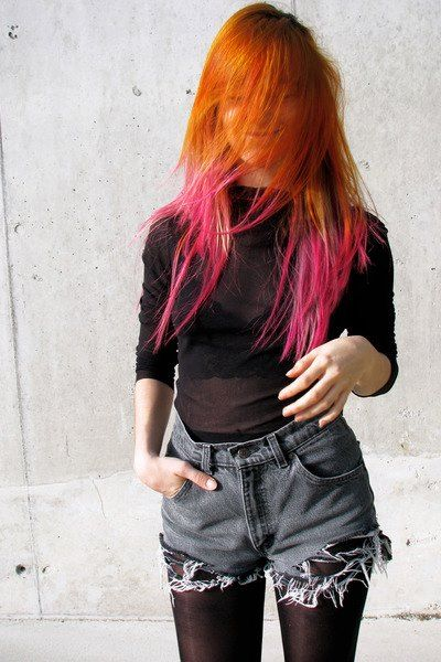 Red Hair Pink Tips Colorfulhair Funkyhair Long Hair Love