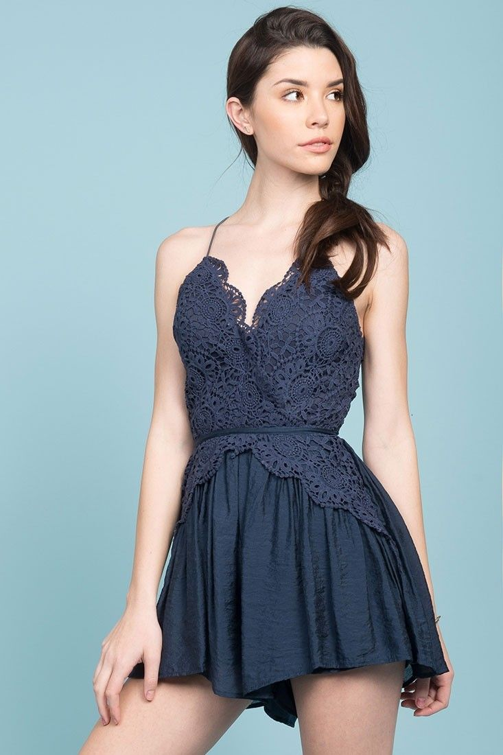 Buy the Henley Lace Top Romper Navy exclusively at Selfie Leslie and get  Free Shipping on all orders! f4c06902abf9