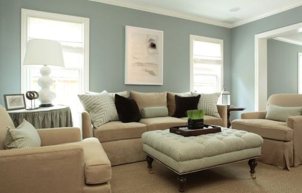 LOVE this blue/gray wall color with white trim, tan furniture by ivy ...