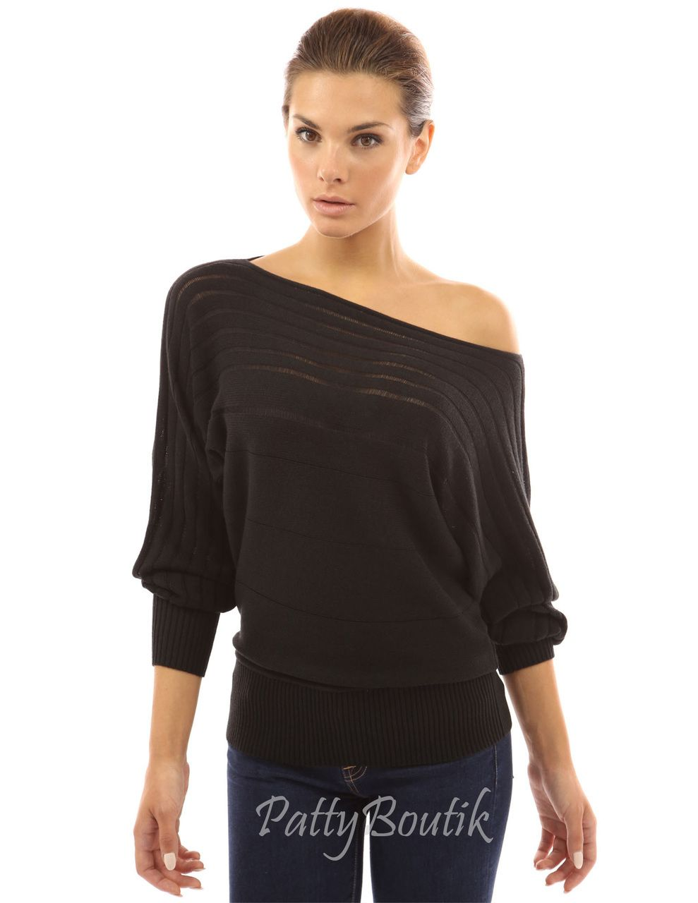 653e4e8aa3a on / off one shoulder Semi-sheer Sweater | Tops and Sweaters ...
