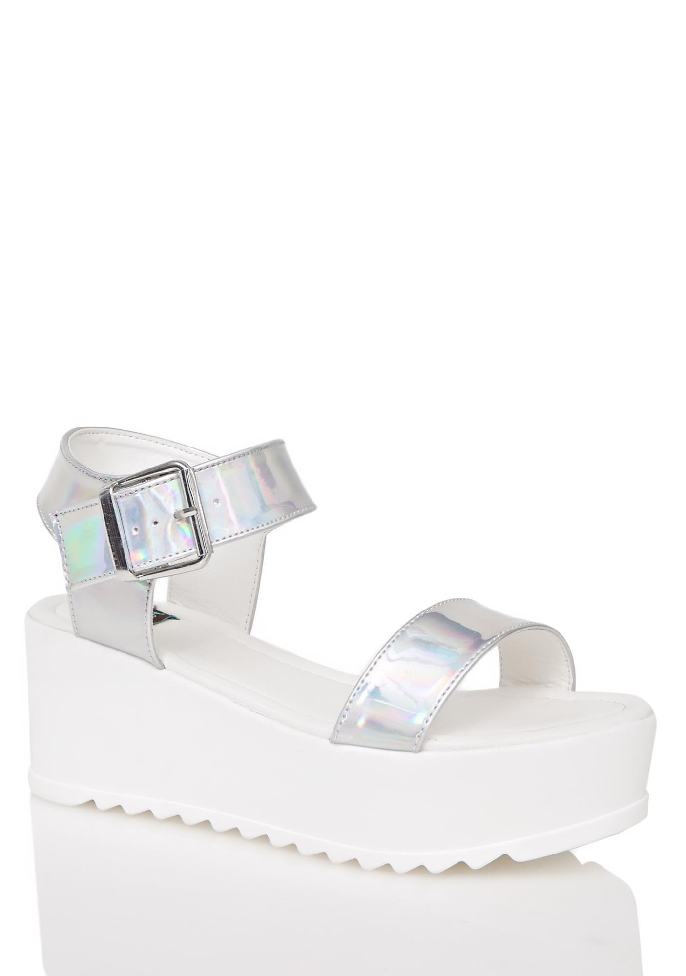 8074f1037c67 Hologram Sidney Platform Sandals Flats