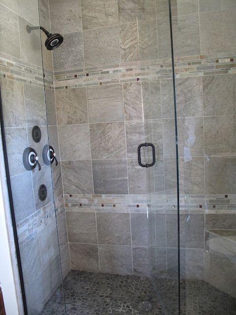 shower, river rock floor, oil-rubbed bronze fixtures, grey ...