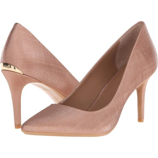 2289bd5a5559 Calvin Klein Gayle (Blush Nude Coated Matte Linen) High Heels ( 80) ❤ liked  on Polyvore featuring shoes