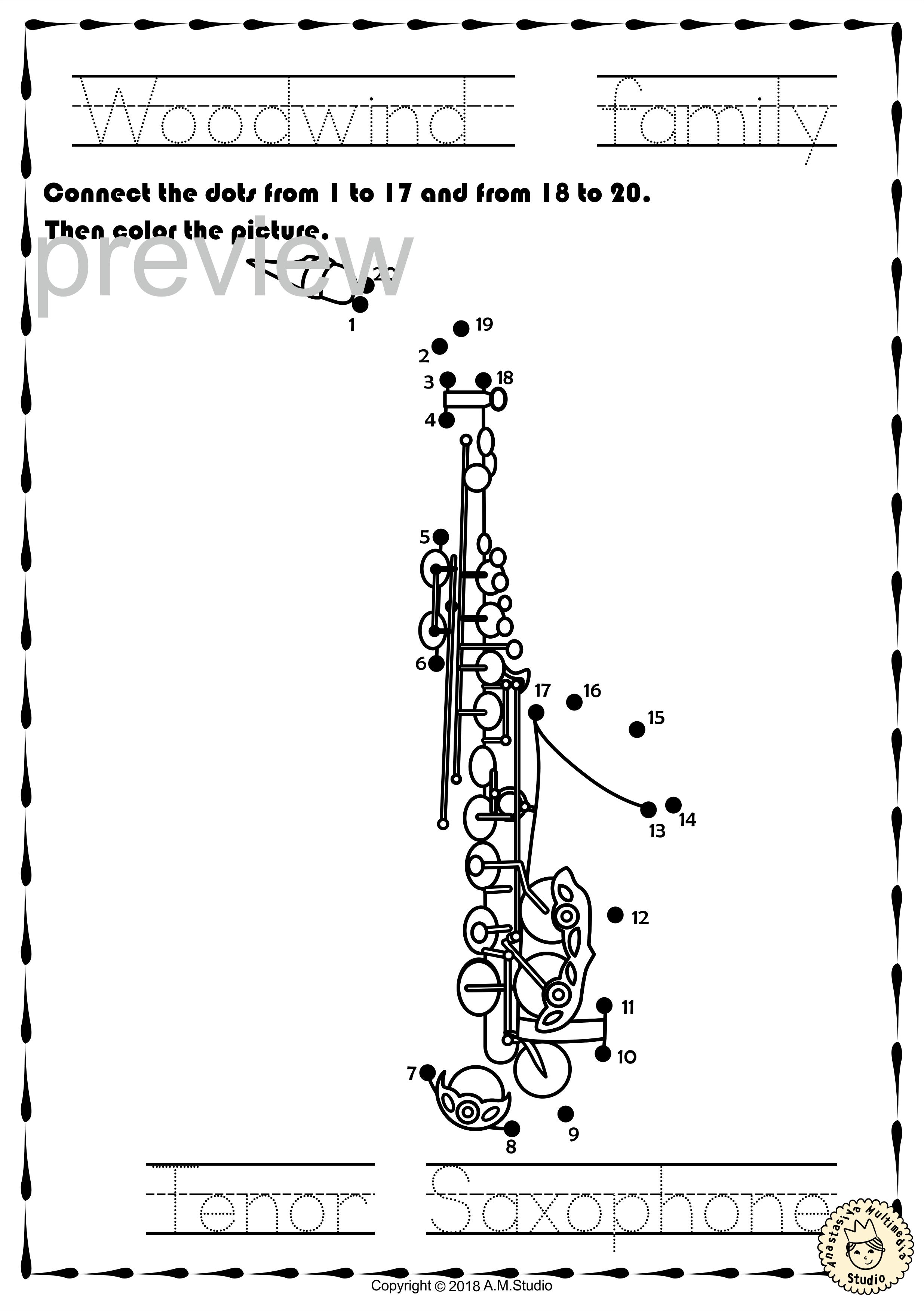 Musical Instruments Dot To Dot Worksheets Bundle In