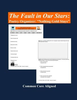 """This poetry analysis and annotation organizer supports the close and active reading of Robert Frost's """"Nothing Gold Can Stay."""""""