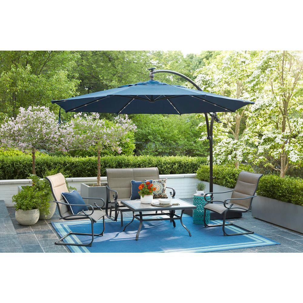 Hampton Bay 11 Ft Aluminum Cantilever Solar Led Offset Outdoor Patio Umbrella In Midnight Navy Blue Yjaf052 Mi The Home Depot Outdoor Patio Umbrellas Outdoor Patio Patio